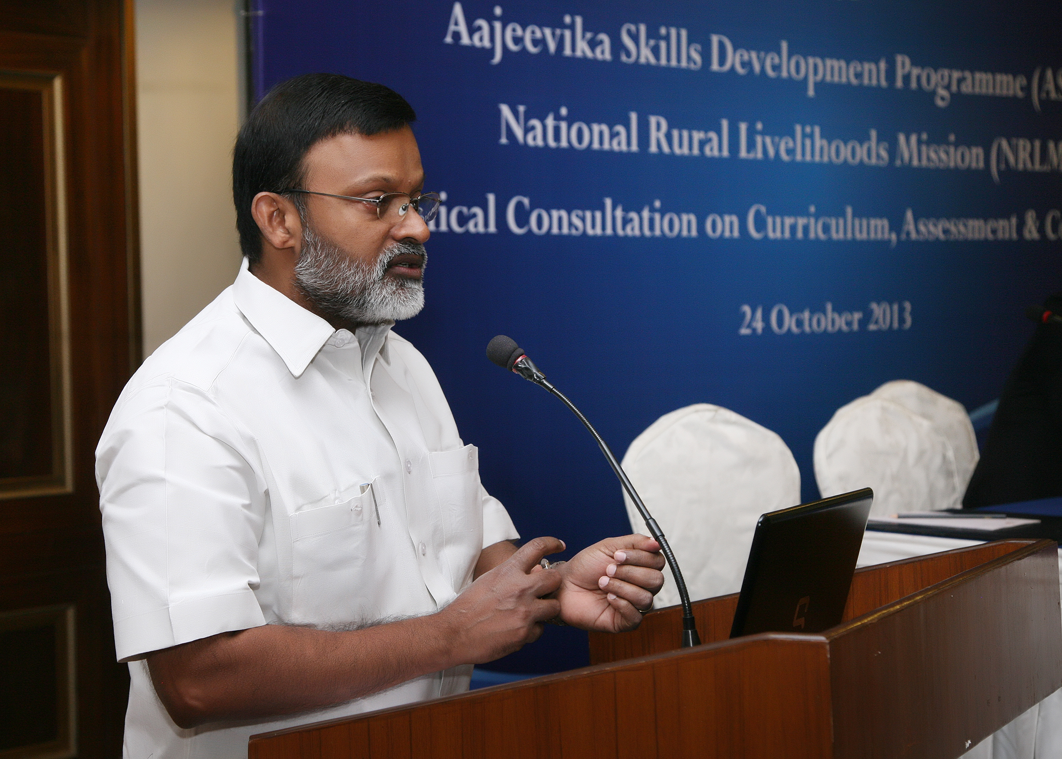Dr. Santhosh Mathew, JS (Skills) addressing the gathering