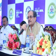 Hon'ble Union MRD Shri Chaudhary Birender Singh  responding query  to the gathering